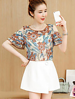 Women's Casual/Daily Simple Blouse,Floral Round Neck Short Sleeves Polyester