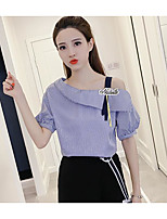 Women's Casual/Daily Simple Shirt,Solid Striped One Shoulder Short Sleeves Cotton