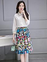 Women's Casual/Daily Simple Summer Shirt Skirt Suits,Print Shirt Collar ¾ Sleeve