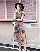 Women's Daily Soak Off Summer T-shirt Skirt Suits,Solid Round Neck Short Sleeve