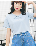 Women's Casual/Daily Simple T-shirt,Solid Round Neck Short Sleeves Cotton Others