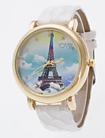 Women's Wrist watch Chinese Quartz Colorful PU Band Eiffel Tower Charm Black White Blue Red Khaki