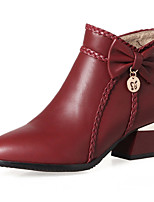 Women's Shoes Boots Comfort Leatherette Fall Winter Casual Party & Evening Dress Bowknot Zipper Chunky Heel Burgundy Black 1in-1 3/4in