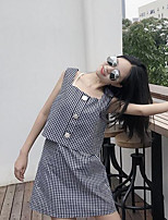 Women's Going out Cute Summer T-shirt Skirt Suits,Plaid/Check Strap Sleeveless