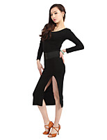 Latin Dance Dresses Women's Performance Cotton 1 Piece Long Sleeve Dresses
