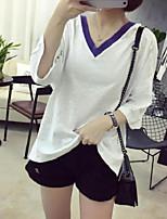 Damen Solide Sexy Lässig/Alltäglich T-shirt,V-Ausschnitt 3/4 Ärmel Baumwolle