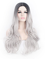 cheap -Synthetic Hair Wigs Wavy Body Wave African American Wig Middle Part Natural Hairline Ombre Hair Capless Halloween Wig Celebrity Wig Party