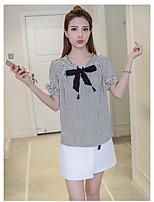 Damen Gestreift Shirt Rock Anzüge,Rundhalsausschnitt Sommer Kurzarm