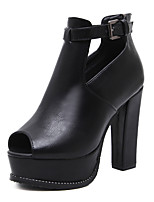 Women's Boots Bootie Fall Leatherette Casual Outdoor Dress Buckle Chunky Heel Black 4in-4 3/4in