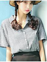 Damen Druck Einfach Lässig/Alltäglich Hemd,Hemdkragen Kurzarm Baumwolle Andere