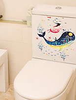 Wall Stickers Wall Decas Style Bottom World Dolphin Toilet PVC Wall Stickers
