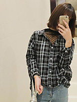 Women's Casual/Daily Simple Shirt,Plaid Shirt Collar Long Sleeves Cotton