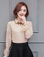 Women's Casual/Daily Simple Shirt,Solid Shirt Collar Long Sleeves Polyester