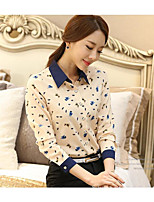 Women's Going out Work Simple Blouse,Print Shirt Collar Long Sleeves Polyester