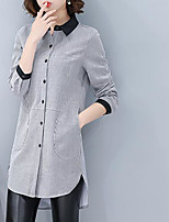 Women's Casual/Daily Simple Shirt,Striped Shirt Collar Long Sleeves Others
