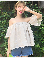 Women's Going out Sexy Blouse,Solid Off Shoulder Short Sleeves Cotton