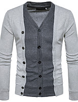 Men's Casual/Daily Work Simple Street chic Regular Cardigan,Color Block V Neck Long Sleeves Cotton Spring Fall Medium Stretchy