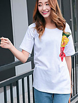 Women's Casual/Daily Simple T-shirt,Floral Print Round Neck Short Sleeves Cotton Others