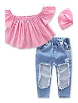 Ensembles Fille Couleur Pleine Coton Spandex Eté Pantalon long Ensemble de Vêtements
