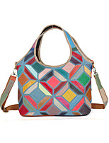 Women Bags All Seasons Cowhide Shoulder Bag Plaid Split Joint for Event/Party Casual Outdoor Rainbow