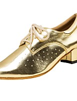 Women's Latin Faux Leather Sandals Performance Criss-Cross Stiletto Heel Gold 2