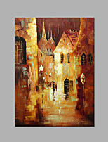 IARTS® Hand Painted Modern Abstract Small Town Street View in Rain Oil Painting On Canvas with Stretched Frame Wall Art For Home Decoration