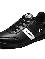 Men's Sneakers Comfort PU Spring Fall Casual Lace-up Flat Heel Dark Blue Black Flat