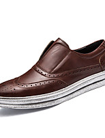 Men's Loafers & Slip-Ons Comfort Leather Spring Fall Casual Outdoor Flat Heel Brown Gray Black Flat