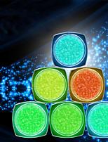 6PCS PINPAI LuminousNail Jewelry Fluorescence Sand Stone Irregular Nail Diamond