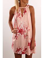 Damen Lose Kleid-Lässig/Alltäglich Blumen Rundhalsausschnitt Mini Ärmellos Polyester Sommer Mittlere Hüfthöhe Mikro-elastisch Mittel