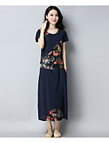 Women's Casual/Daily Vintage T-shirt,Solid Print Round Neck Short Sleeves Linen