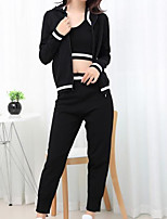 Women's Daily Casual Vintage Glamorous & Dramatic Spring T-shirt Pant Suits,Simple Textured Sexy Hooded Long Sleeve Classic Stylish