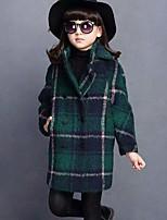 Девочки Куртка / пальто Хлопок Клетка Осень Зима Длинный рукав