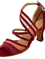Women's Latin Silk Tulle Sandals Performance Buckle Stiletto Heel Ruby Brown 3