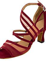 Damen Latin Seide Tüll Sandalen Aufführung Verschlussschnalle Stöckelabsatz Braun Rot 7,5 - 9,5 cm Maßfertigung