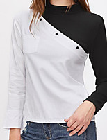 Women's Going out Casual/Daily Street chic Spring T-shirt,Solid Round Neck Long Sleeves Cotton Medium