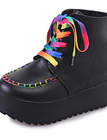 Women's Boots Comfort Spring Fall PU Casual Lace-up Flat Heel Black White Flat