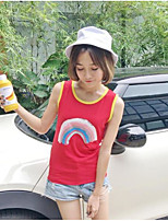 Women's Going out Simple Tank Top,Solid Print Round Neck Sleeveless Cotton
