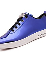 Men's Sneakers Comfort Spring Fall PU Casual Lace-up Flat Heel Blue Silver Black Gold Flat