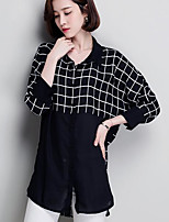 Women's Casual/Daily Simple Shirt,Print Shirt Collar 3/4 Length Sleeves Linen Others