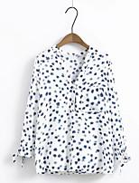 Damen Druck Einfach Street Schick Ausgehen Lässig/Alltäglich T-shirt,V-Ausschnitt Frühling Herbst Langarm Baumwolle Dünn Mittel