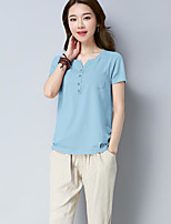 Women's Going out Vintage T-shirt,Solid Round Neck Short Sleeves Cotton