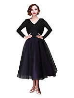Ballroom Dance Bottoms Women's Performance Chiffon Tulle Bow(s) 2 Pieces Dropped Skirts Waist Accessory