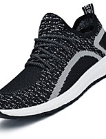 Men's Sneakers Comfort Light Soles Fall Winter Tulle Net Running Shoes Casual Outdoor Lace-up Low Heel Gray Black Under 1in
