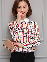 Women's Casual/Daily Simple Shirt,Striped Shirt Collar Long Sleeves Polyester