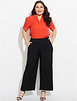 Damen Solide Punkt Einfach Lässig/Alltäglich T-shirt,Hemdkragen Kurzarm Seide Baumwolle Polyester