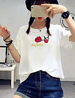 Damen Blumen Einfach Lässig/Alltäglich T-shirt,Rundhalsausschnitt Kurzarm Baumwolle