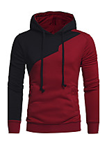 Men's Plus Size Sports Plus Size Going out Casual/Daily Simple Hoodie Color Block Cut Out Hooded Micro-elastic Cotton Long Sleeve Fall