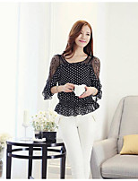Women's Going out Sexy Blouse,Solid Polka Dot Boat Neck Half Sleeves Polyester