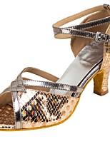 Da donna Balli latino-americani Similpelle Sandali Esibizione Incrociato Tacco cubano Oro 5 - 6,8 cm Personalizzabile
